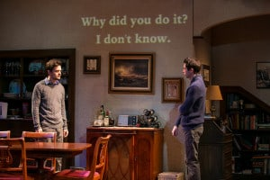 The DCPA production of 'Tribes' includes the use of supertitles on the set to translate signed conversations. Photo by Adams Visual Communicatinos.